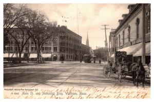 Massachusetts Waltham , Main street and Methodist Building