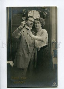3018907 Lovers w/ Champagne-Glasses & Clock Vintage RUSSIA RPPC