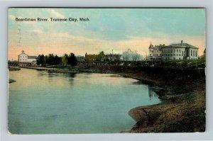 Traverse City MI-Michigan, Boardman River, Vintage c1912 Postcard