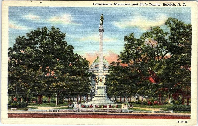 Postcard NC Raleigh State Capitol and Confederate Monument c1940s F15