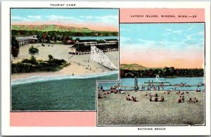 1930s WINONA Minnesota Postcard LATCH ISLAND Tourist Camp / Bathing Beach Views