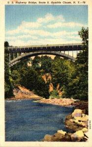 New York Ausable Chasm U S Highway Bridge Route 9 1954 Curteich