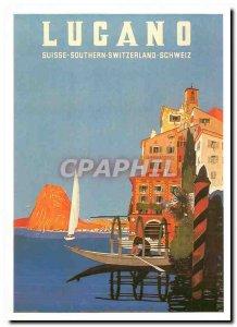 Modern Postcard Lugano Switzerland