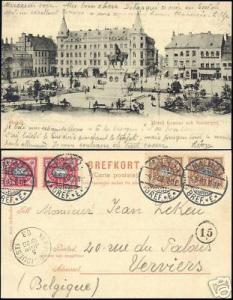 sweden, MALMÖ, Hotell Kramer och Stortorget 1903 Stamps