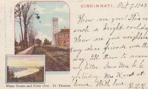 CINCINNATI , Ohio , 1903 ; Water Tower & River View. Ft Thomas