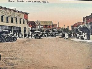 Postcard  Early View of  Ocean Beach in New London, CT     W3