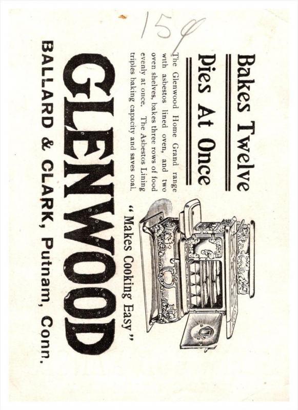 Connecticut Putnam , Ballard & Clark, Glenwood Ranges , Trade Card