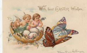 Fantasy : Butterflies pull Fairies riding giant Egg cart, With Easter Wishes : B