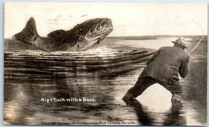 1911 Canada FISHING Exaggeration RPPC Real Photo Postcard Nip & Tuck w/ a Bass