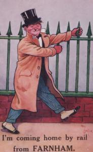 Farnham Surrey Rail Train Coming Home Antique Comic Postcard