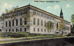 Public Library, Springfield, New Jersey, Early Postcard, Unused