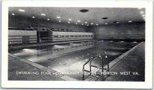 Weirton, West Virginia Postcard SWIMMING POOL - COMMUNITY CENTER c1940s