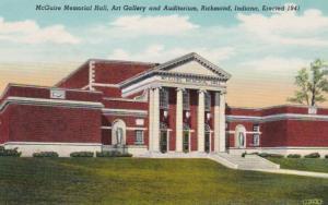 Indiana Richmond McGuire Memorial Hall Art Gallery and Auditorium Curteich