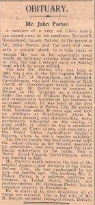 1934 Belfast Newspaper Clipping OBITUARY MR JOHN PORTER OF RAVENHILL GREENISLAND