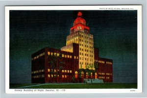 Decatur IL, Stately Building At Night, Linen Illinois Postcard