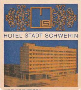 GERMANY SCHWERIN HOTEL STADT SCHWERIN LUGGAGE LABEL