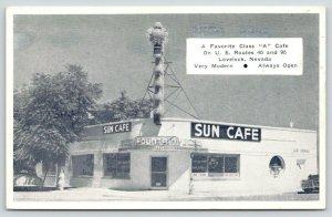 Lovelock Nevada~ART DECO Sun Cafe~Roadside US Route 40~1950s Car~B&W Postcard