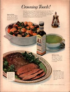 1958 A1 Steak Food Sauce Crowning Touch Rare Full Page Vintage Print Ad 839