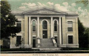 Vintage Postcard; Public Library, Decatur IN Adams County Indiana Posted