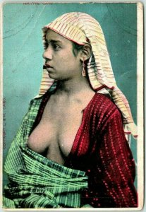 Vintage 1910s Cairo, EGYPT Postcard Young Woman Open Shirt L&H Unused
