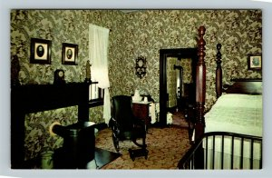 Springfield IL, Abraham Lincoln's Bedroom In House, Chrome Illinois Postcard