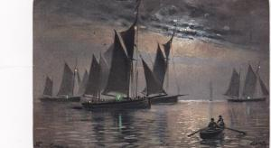 TUCK Seires 1291 ; Sailing Vessels at night , Artist REGGIE , PU-1914 ; #2