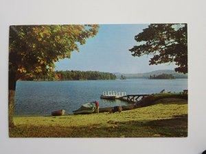 Lake Waukewan in Meredith NEW HAMPSHIRE Vintage Chrome Postcard
