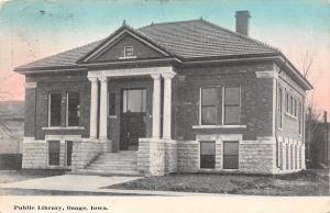 Osage Iowa~Carnegie Public Library~Main Street~City Offices~1909 Postcard