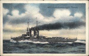 BATTLESHIP USS Superdreadnought Florida c1920 Postcard