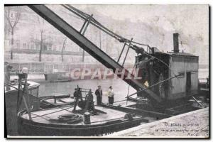 Old Postcard The Banks of the Seine starting d & # 39A crane