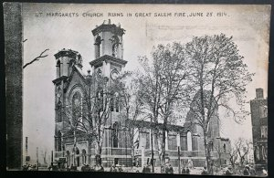 Mint Saint Margarets Church after 1914 Great Salem Fire Massachusetts RPPC