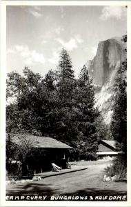 RPPC YOSEMITE NATIONAL PARK, CA Camp Curry BUNGALOWS & HALF DOME c1940s Postcard