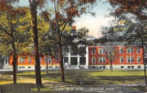 Jackson Michigan~Oddfellow's New Home~IOOF Building in Trees~1913 Postcard