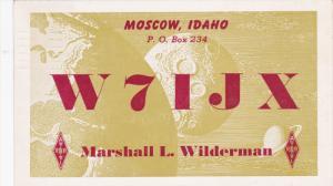 QSL Radio Postcard , MOSCOW , Idaho , PU-1950