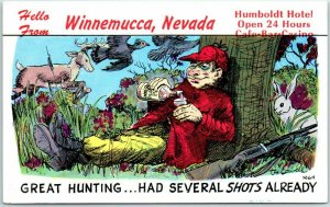 Winnemucca, Nevada Postcard HUMBOLDT HOTEL Comic Hunting Booze Roadside c1960s
