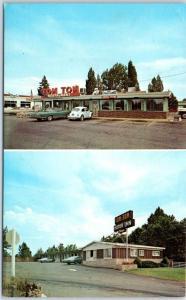 BEND Oregon Postcard TOM TOM Restaurant & Motel Highway 97 Roadside VW Bug 1960s