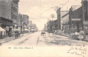 Alliance Ohio~Main Street~HC Newman: Gents Furnishing~Delivery Wagons~1905 B&W