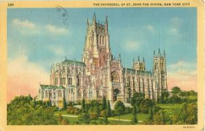 St John the Divine Cathedral NYC New York 1945 Postcard 4A-H1812Co.