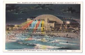 Convention Hall Atlantic City NJ Auditorium Night Curteich