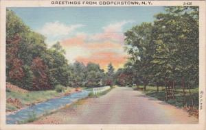 New York Greetings From Cooperstown 1946 Curteich