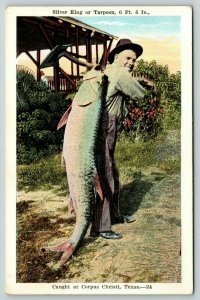 Corpus Christi Texas~6 Ft Silver King~Tarpon Fisherman Slings Over Shoulder~1920