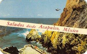 Saludos desde ACAPULCO Mexico Cliff Diver Quebrada 1965 Vintage Postcard