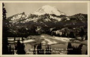 Rainier National Park View From Tipsoo Lake Real Photo Postcard