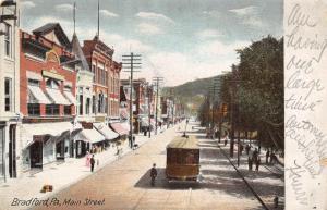 Bradford Pennsylvania~Trolley Picks Up Passenger on Main Street~Stores~1906 PC