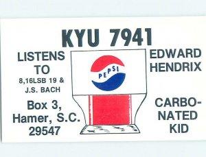 Pre-1980 RADIO CARD - CB HAM OR QSL Hamer - Near Dillon & Florence SC AH0899