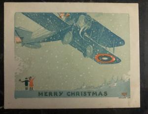 Mint PPC USA Patriotic picture postcard Merry Christmas Military Plane