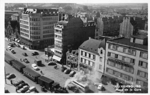 Luxembourg Place de la Gare train rail cars real photo postcard