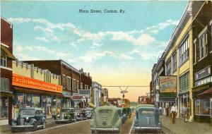 Linen Postcard; Main Street, Corbin KY Whitley County, Newberry's 5 & 10 Store