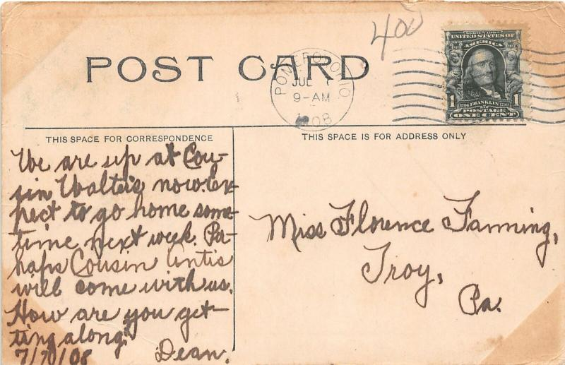 F28/ Pomeroy Ohio Postcard 1908 River Front Stores Steamer River 2