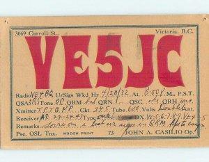1930s QSL RADIO CARD Victoria - Vancouver Island British Columbia BC AH3143